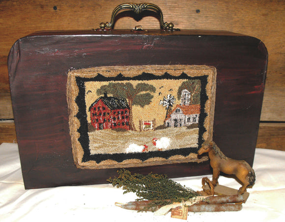 Folk Art Farm Yard & Chickens- Finished Punch Needle On Old Repro Suitcase...