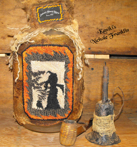 Salems Finest Brew- Finished Glass Gallon Jug With An All Hallows Punch Needle Original