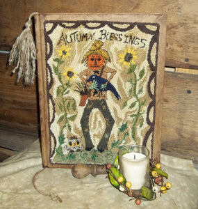 Pumpkin Scarecrow- Autumn Blessings- A One Of A Kind Punch Needle Original- On A Kraft Paper Journal....