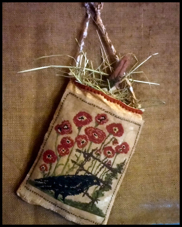 Primitive Stitched- Ravens & Poppies- Cross Stitch Diddy Pocket
