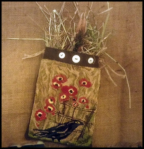 Primitive Punched- Ravens & Poppies- Punch Needle Diddy Pocket