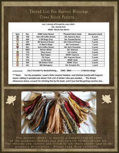 Harvest Blessings- THREAD KIT ONLY- For My Cross Stitch Pattern