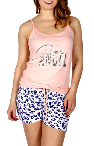 Angel Tank and Animal Print Short set