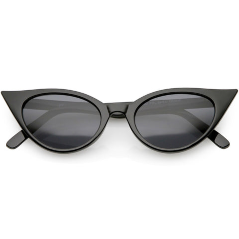 999b9b5f84 Women s Retro Cat Eye Sunglasses Neutral Colored Oval Lens 48mm (Black    Smoke)