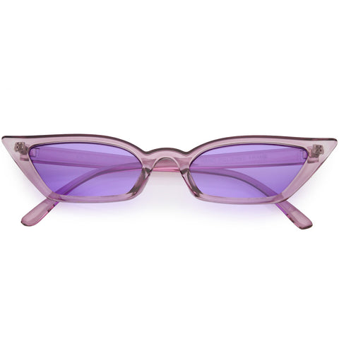 4bbacfcbdb Women s Translucent Thin Extreme Cat Eye Sunglasses Rectangle Lens  Sunglasses 47mm (Purple   Purple)