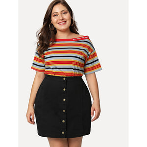 Plus Size Button Up Denim Skirt