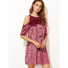 Burgundy Cold Shoulder Crushed Velvet Dress