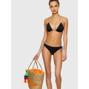 Black Sawtooth Color Self Tie Bikini Set
