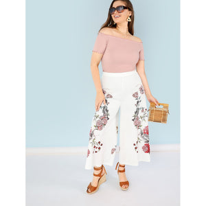 Plus Size Botanical Print Wide Leg Pants