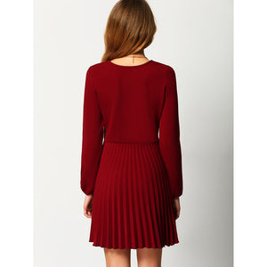 Burgundy Crew Neck Pleated Dress
