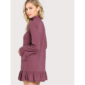 Choker Ribbed Long Sleeve Flowy Mini