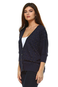 Button Up Studded Night Cardigan - BlondeRambler