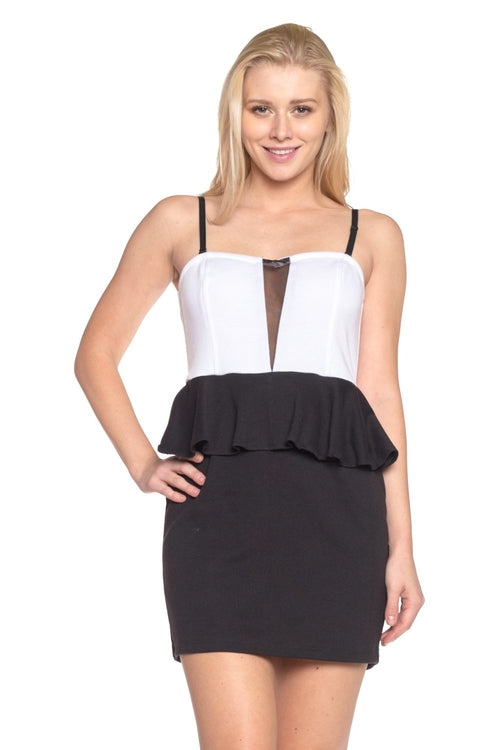 Basix B/W Peplum Dress - BlondeRambler