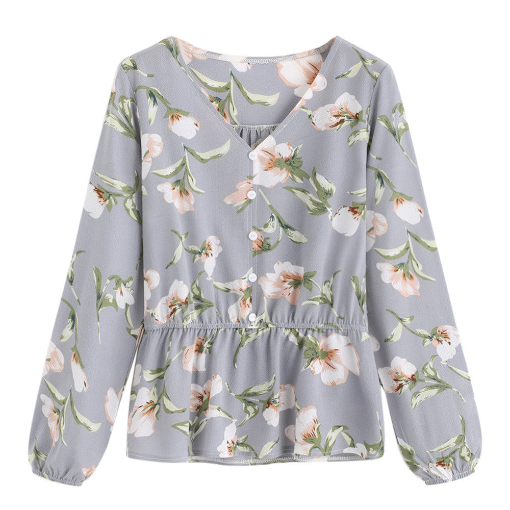 Floral Chiffon Long Sleeve Blouse