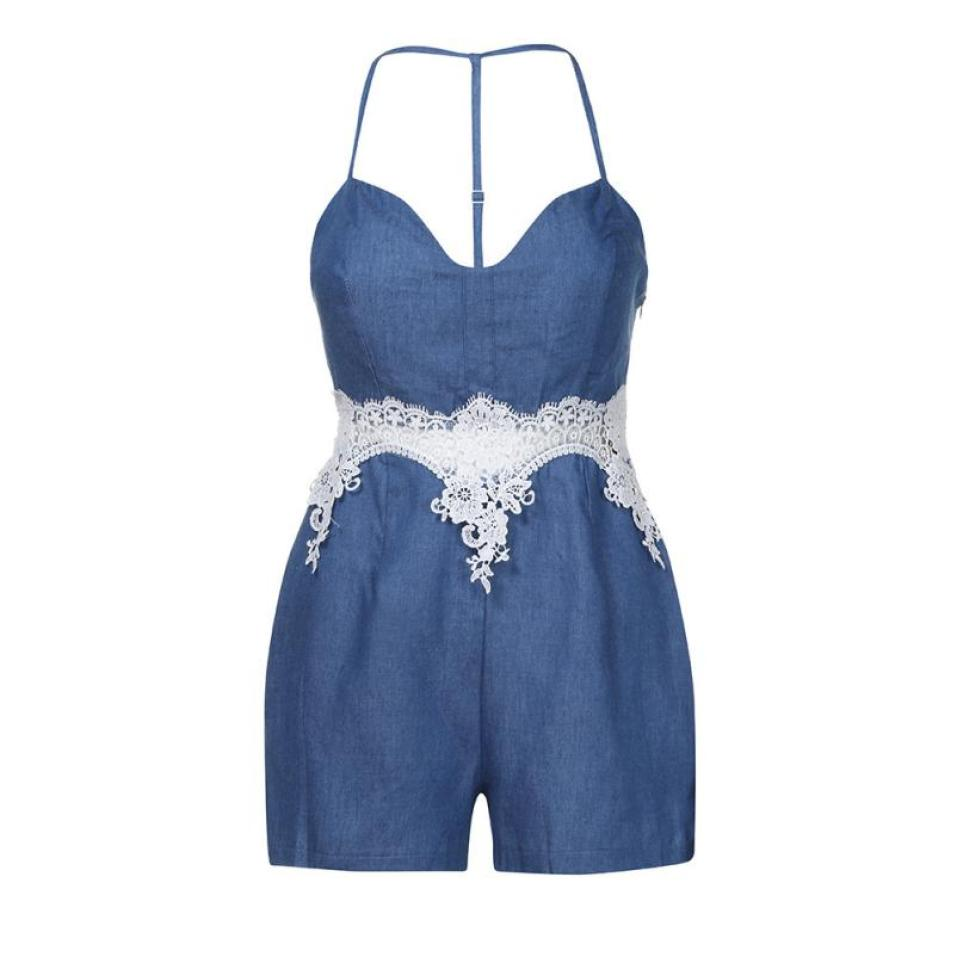 Denim Lace Casual Romper
