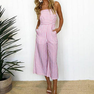 Casual Striped Ankle Length Jumpsuit
