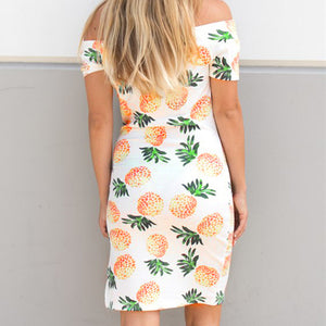 Female Dresses Womens Sleeveless Off Shoulder Pineapple Print Fashion Sexy Dress Ladies Summer Casual Beach Party Dresses 0120