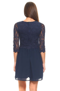Ana Three Quarter Sleeved Lace Bodice Dress - BlondeRambler