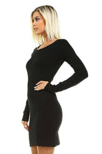 Basix Long Sleeve Textured Sweater Bodycon - BlondeRambler