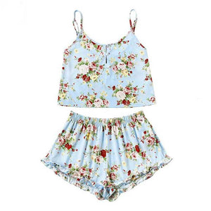 Blue Sky Floral Short Summer Set - BlondeRambler