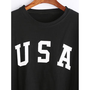 Black USA Crop Tee