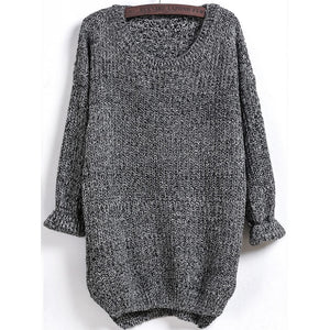 Dipped Hem Marled Loose Sweater
