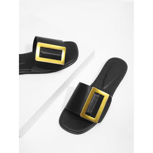 Contrast Buckle PU Slippers