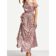 Burgundy Print Off The Shoulder Maxi