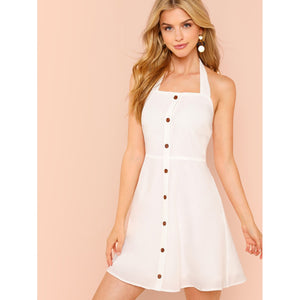Button Up Thick Strap Halter Dress