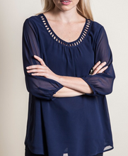 Alexis Royal Blue Sheer Tunic - BlondeRambler