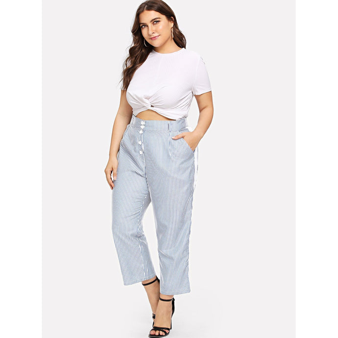 Plus Size Contrast Panel Side Striped Pants