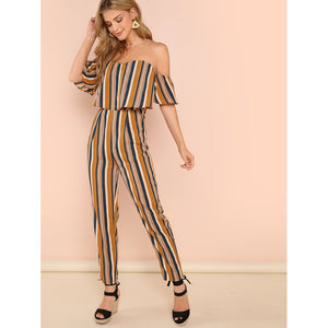 Striped Print Foldover Front Jumpsuit