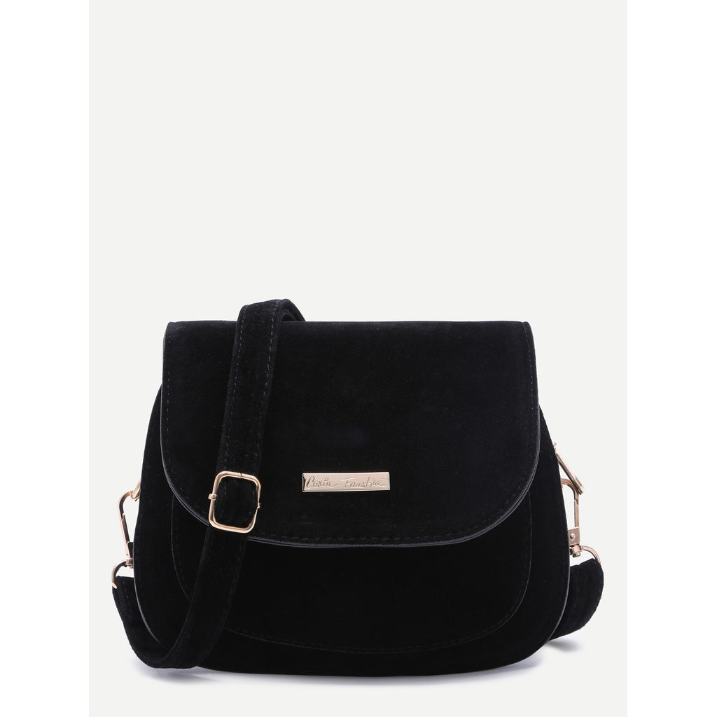 Black Faux Leather Saddle Crossbody Bag