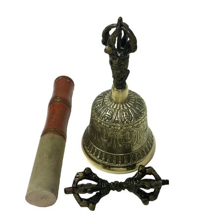 "Brass Tibetan Bell with Dorje and Striker - 5"" high"