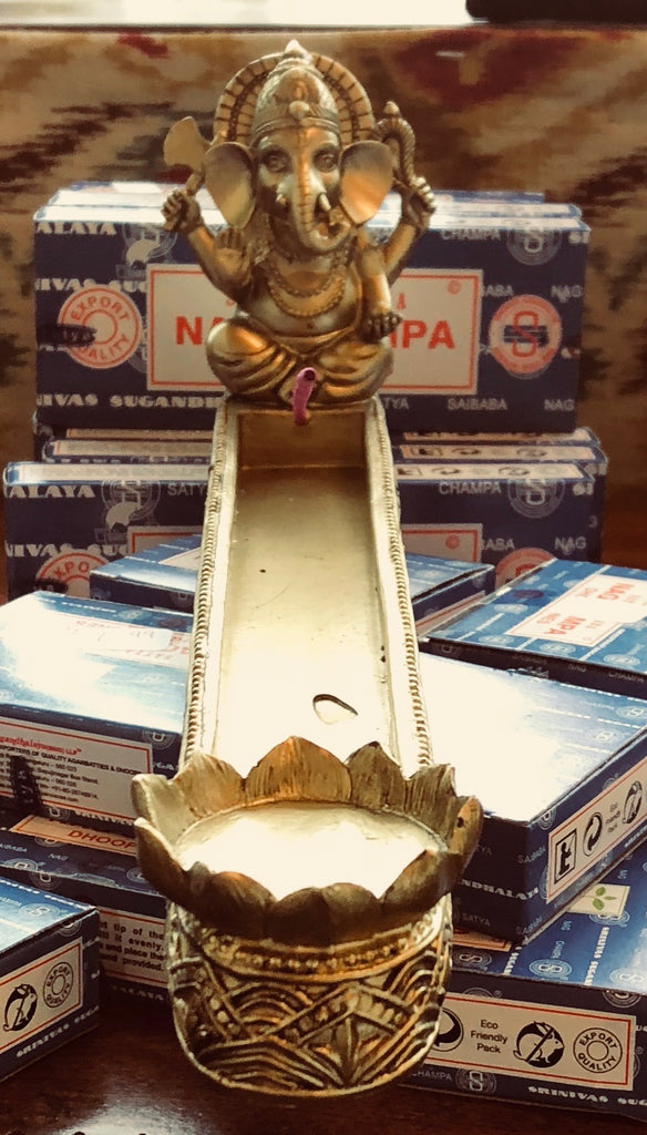 Gold Ganesha stick incense with dual cone holder