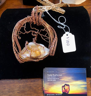 Nate Barbosa's Large Citrine Wire Wrapped Crystal Necklace