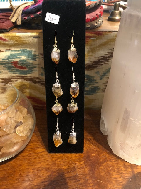 Citrine Gold/silver Earring