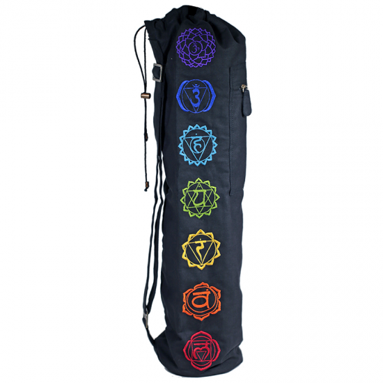 Drawstring Yoga Mat Bag Black w/ 7 Chakras