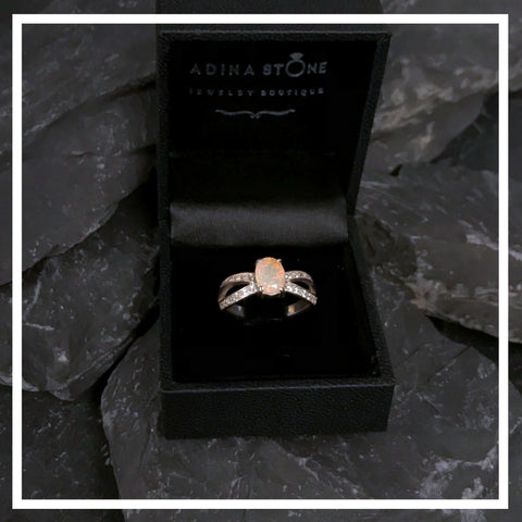 Fire Opal Promise Ring