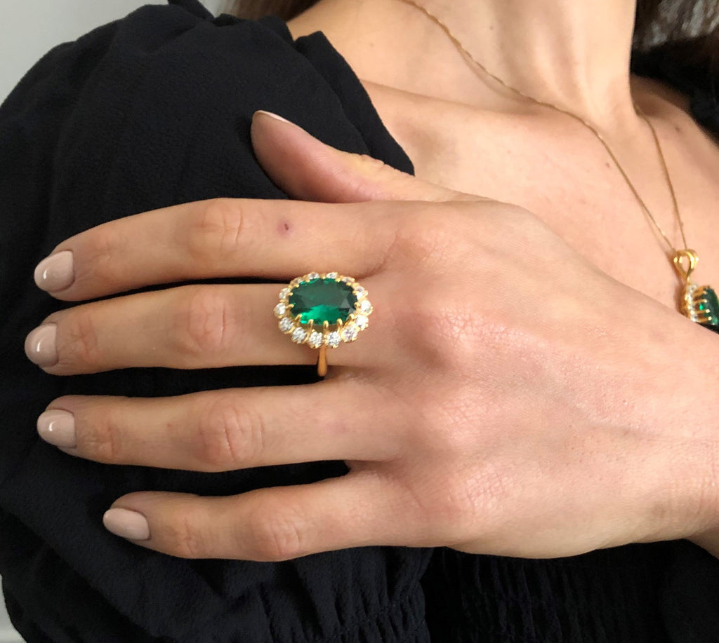 Gold Emerald Ring, Princess Di Ring, Created Emerald, Gold Plated Ring, Victorian Ring, Princess Diana Ring, Vermeil Ring