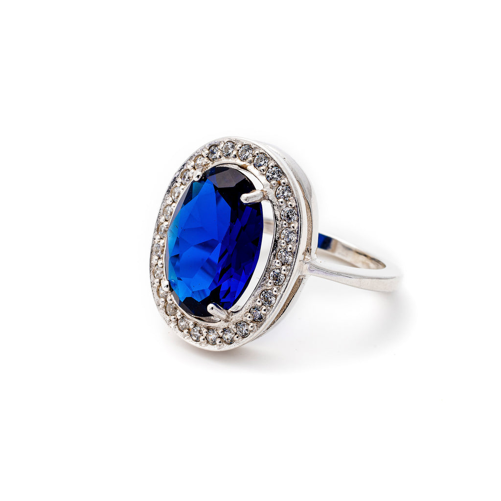 Royal Blue Ring, Created Sapphire Ring, Victorian Ring Design, Statement Ring, Solid Silver