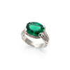 Vintage Emerald Ring, Created Emerald, Horizontal Ring, Statement Ring, Solid Silver