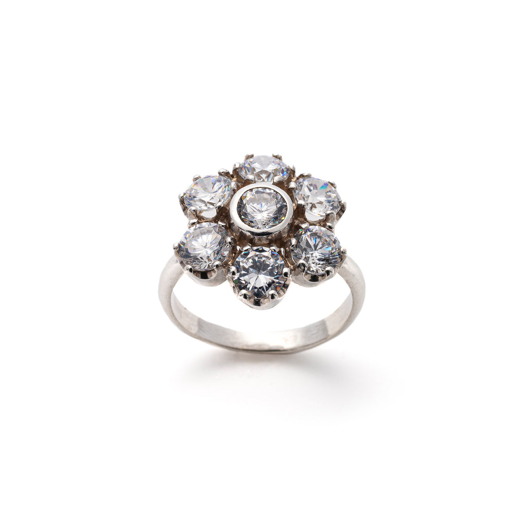 Flower Diamond Ring, Created CZ Diamond, Vintage Ring, Statement Ring, Solid Silver