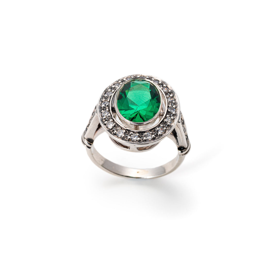 Antique Emerald Ring, Created Emerald, Vintage Ring, Statement Ring, Solid Silver