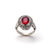 Antique Ruby Ring, Created Ruby, Red Ruby Ring, Vintage Ring, Solid Silver, Statement Style