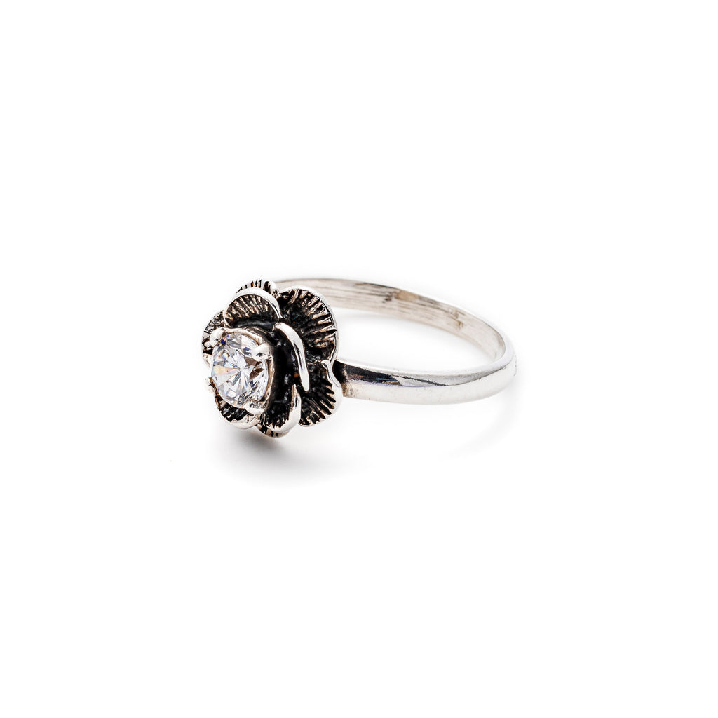 Vintage Flower Ring, Created CZ Diamond, Diamond Flower Ring, Sparkly Ring, Solid Silver