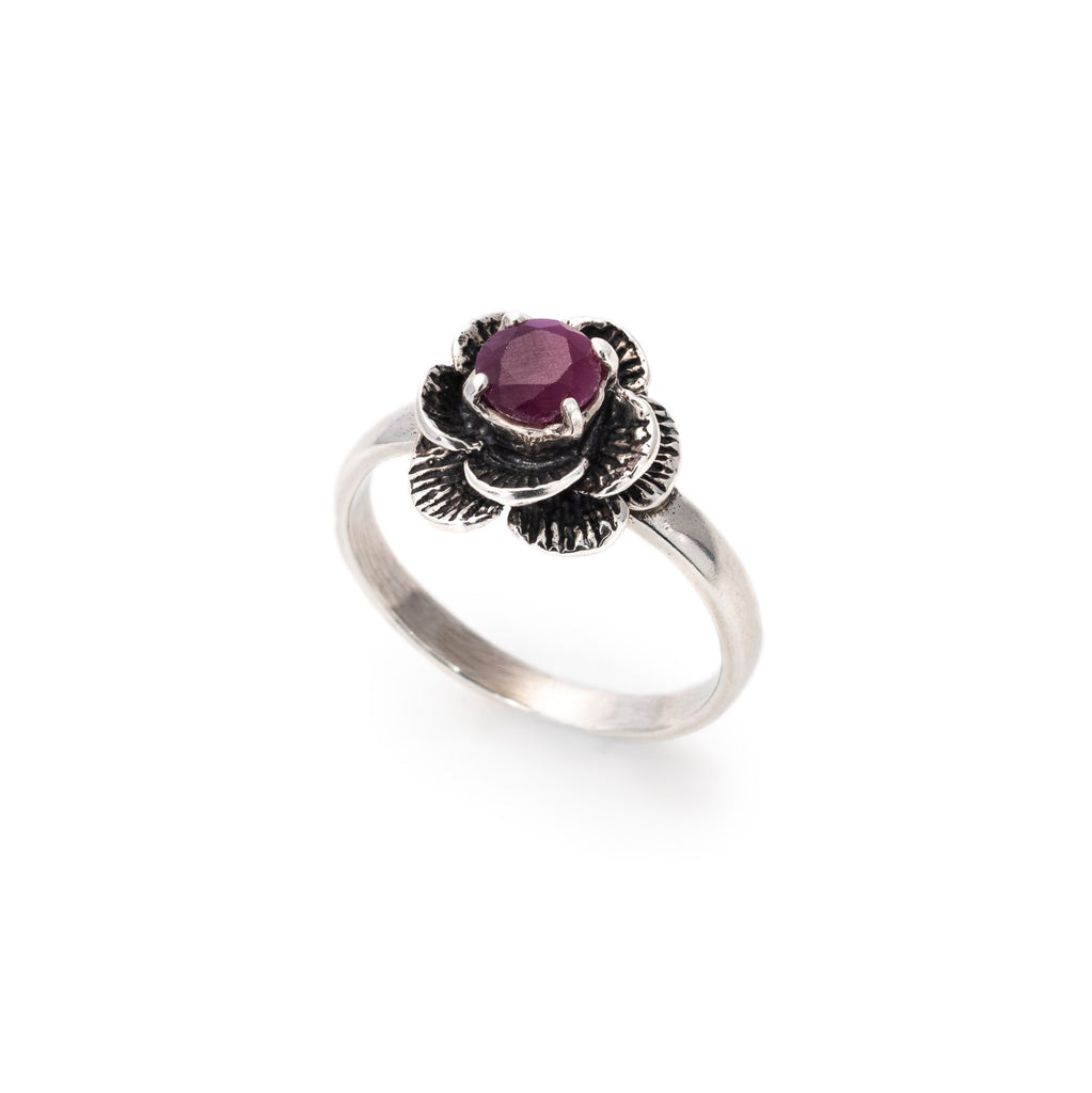Flower Ruby Ring, Real Natural Ruby, Vintage Ring, July Birthstone Ring, Red Flower Ring, Solid Silver