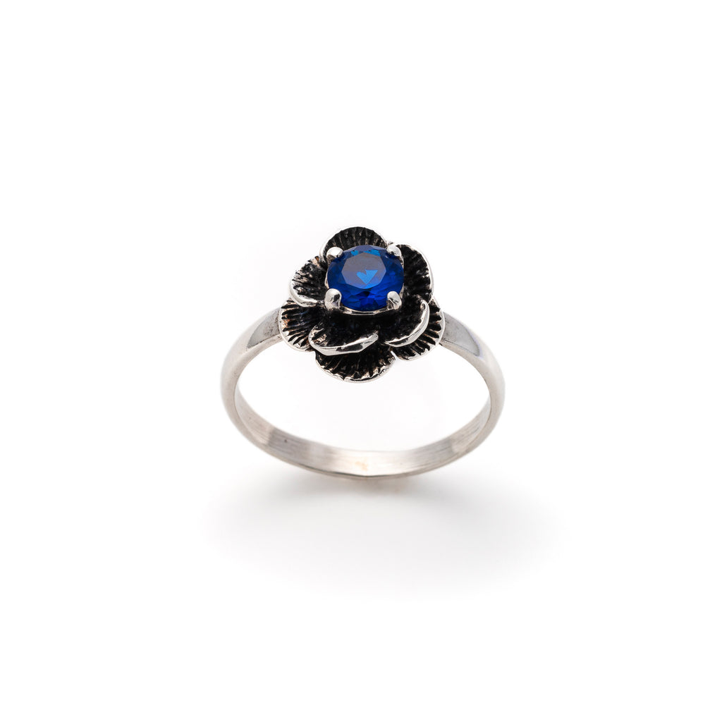 Sapphire Flower Ring, Created Blue Sapphire, Vintage Flower Ring, Solid Silver