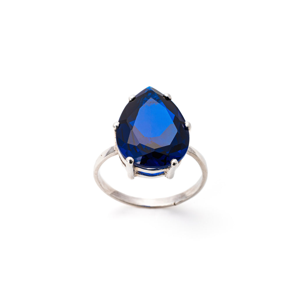 Teardrop Ring, Created Sapphire, Vintage Ring, Blue Sapphire Ring, Solid Silver Ring