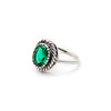Antique Emerald Ring, Created Emerald, Vintage Ring, Dainty Oval Ring, Solid Silver